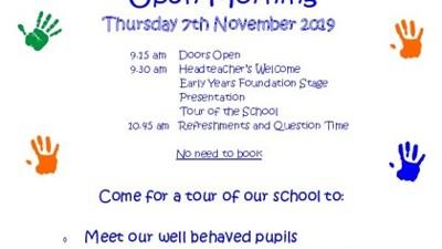 Open Morning Thursday 7th November