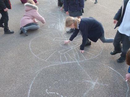 Year 3 T3 Pankhurst - Viking Drama and Longboat Chalk Drawings