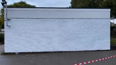 Work started on our climbing wall