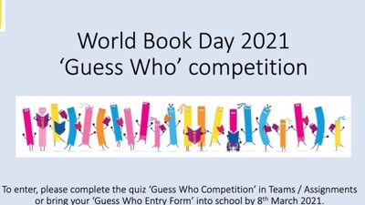 Guess Who Competition and Form for World Book Day 2021