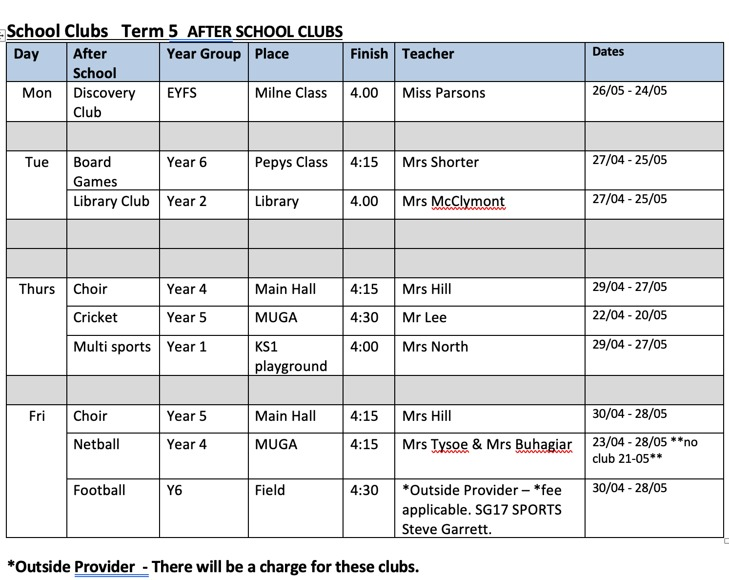 School Clubs Term 5 2021