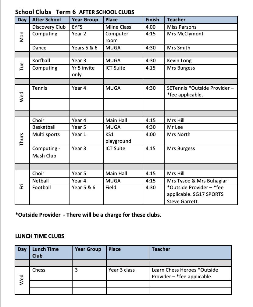 Term 6 After School Clubs Schedule