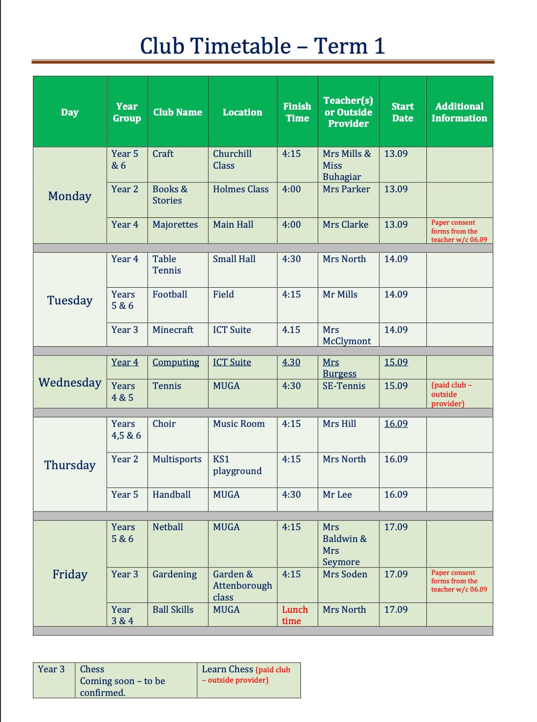 Sept 2021 Term 1 School Clubs